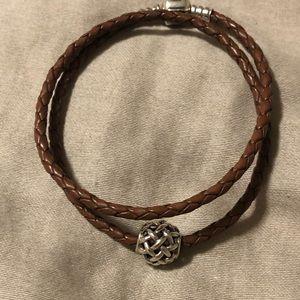 Pandora leather double wrap bracelet, woven bead